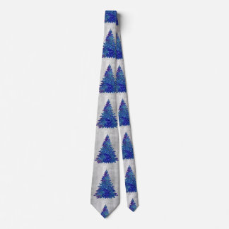 silver background - blue and silver looking tree.p neck tie