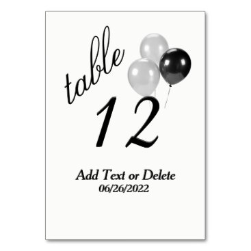 Silver Balloons Custom Text Table Number