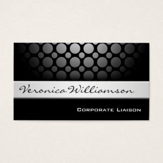 Silver Band Modern Black Business Cards