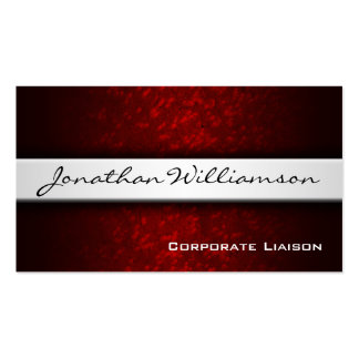 Silver Band Red Modern Professional Business Card