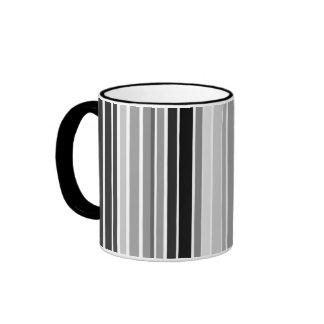 Silver Bar Code Stripes Ringer Coffee Mug