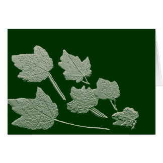 Silver Bas Relief Maple Leaves On Green Card