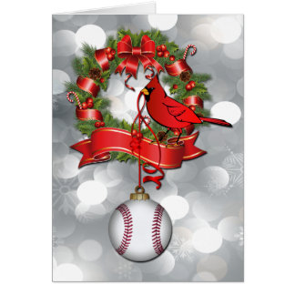 Silver  Baseball Christmas Red Bird Greeting Card