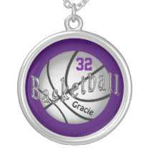 Silver Basketball Necklace Your COLORS and TEXT