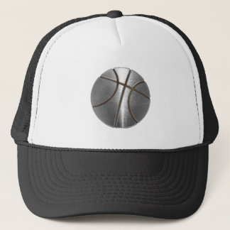 Silver Basketball Trucker Hat