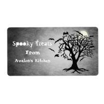 Silver Bats Halloween Treats Baking Label Shipping Label