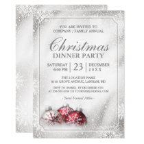 Silver Baubles Snowflakes Christmas Holiday Party Card