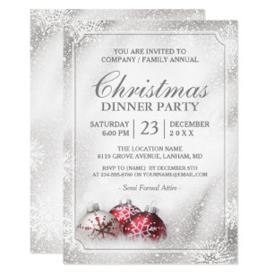 Silver Baubles Snowflakes Christmas Holiday Party Invitation