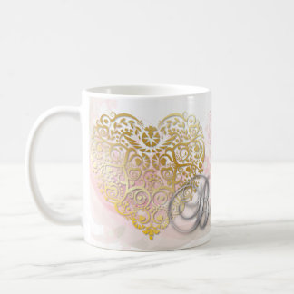 "Silver ""Be Mine"" Valentine Gold Filigree Heart Mug"