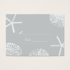 Silver Beach Theme Seashells Wedding Place Card at Zazzle