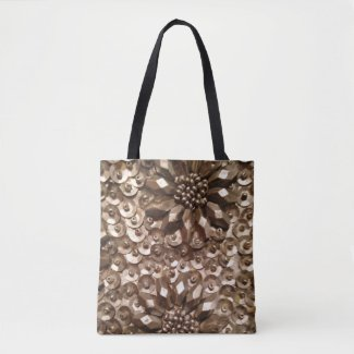 Silver Beads/Sequins Photo All-Over-Print Tote Bag