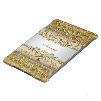 Silver Beige White Gold Diamond Jewel Cover For iPad Air