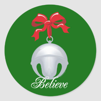Silver Bell Believe Classic Round Sticker