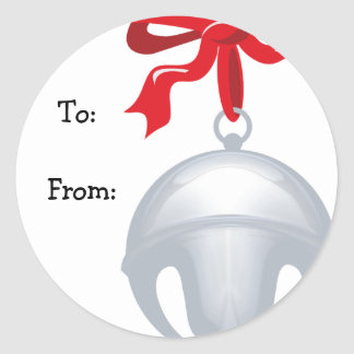 Silver Bell Custom Gift Tags Classic Round Sticker