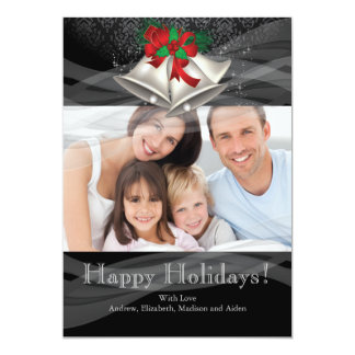 Silver Bells Christmas Holiday Family Photo Card