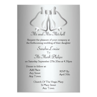 Silver Bells Formal Wedding Card