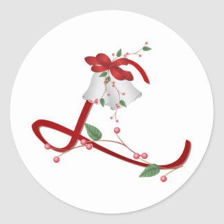Silver Bells Initial L Round Stickers