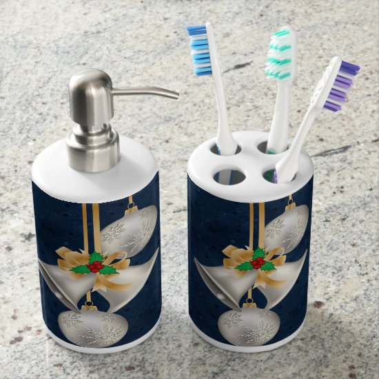 Silver Bells on Blue Background Toothbrush Holder