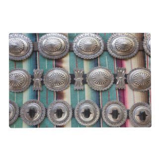 Silver belts for sale, Santa Fe, New Mexico. USA Placemat