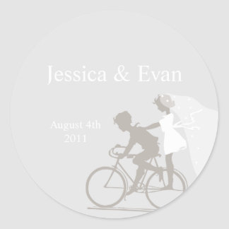 Silver Bicycle Couple Wedding Sticker