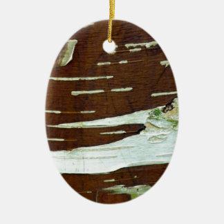 Silver Birch Natural Tree Bark Ceramic Ornament