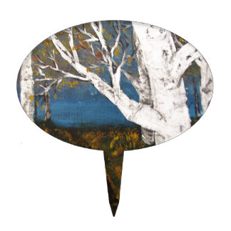 Silver Birch Trees Autumn Nature Painting Cake Pick