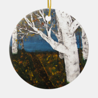 Silver Birch Trees Autumn Nature Painting Ceramic Ornament