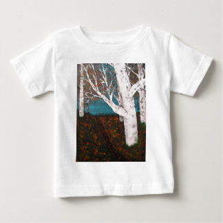Silver Birch Trees Autumn Nature Painting Enhanced Baby T-Shirt