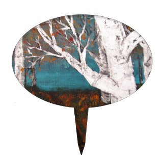 Silver Birch Trees Autumn Nature Painting Enhanced Cake Toppers