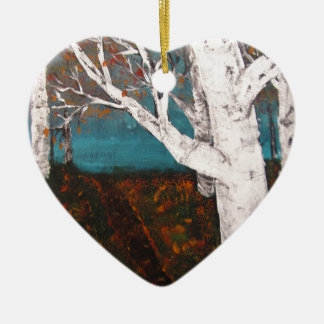 Silver Birch Trees Autumn Nature Painting Enhanced Ceramic Ornament