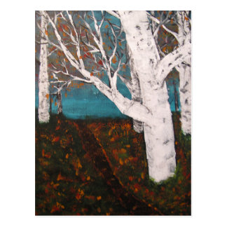 Silver Birch Trees Autumn Nature Painting Enhanced Postcard
