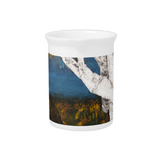 Silver Birch Trees Autumn Nature Painting Drink Pitcher