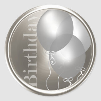 Silver Birthday Balloons Silver Envelope Seal Classic Round Sticker