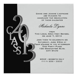 Silver Black 2013 Photo Graduation Invitation