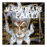 Silver Black and Gold Mask Masquerade Party 5.25x5.25 Square Paper Invitation Card