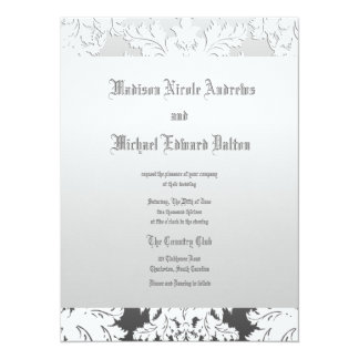 Silver , Black and White Gradient Damask 5.5x7.5 Paper Invitation Card