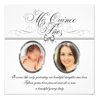 Silver Black and White Photo Quinceanera Card