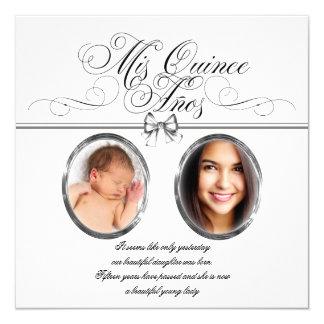 """Silver Black and White Photo Quinceanera 5.25"""" Square Invitation Card"""