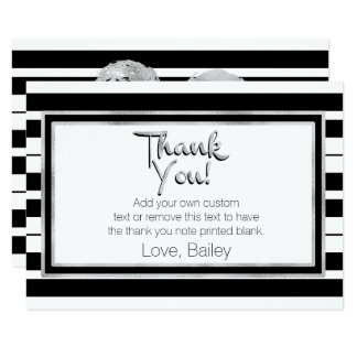 Silver, Black and White Striped Thank You Cards