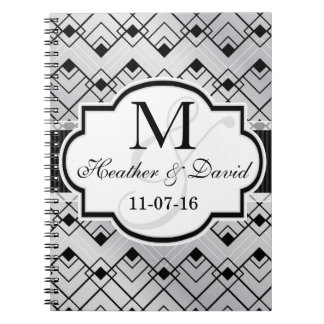 Silver & Black Art Deco Wedding Note Book