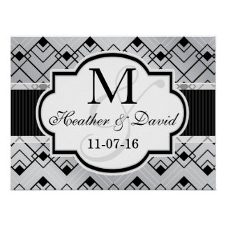 Silver & Black Art Deco Wedding Poster
