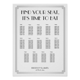 Silver Black Art Deco Wedding Seating Chart Poster