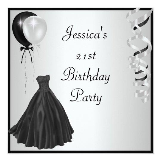 Silver Black Balloons Formal 21st Birthday Card