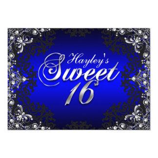 Silver Black Blue Pearl Damask Sweet 16 Invite