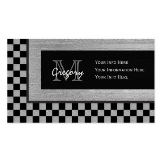 Silver & Black Checkered Monogram Business Cards 2 Pack Of Standard Business Cards