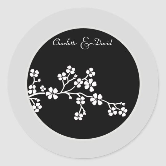 Silver Black Cherry Blossom Wedding Sticker
