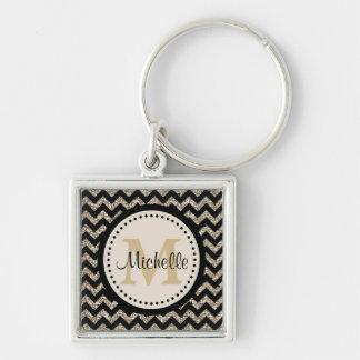 Silver Black Chevron Faux Glitter Monogram Keychain