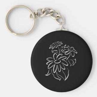 silver & black daisies keychain