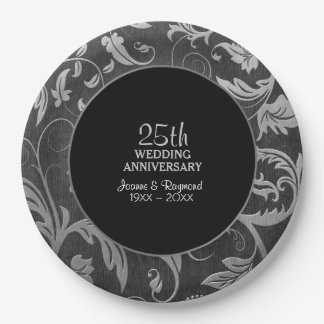 Silver Black Damask 25th Anniversary Paper Plate