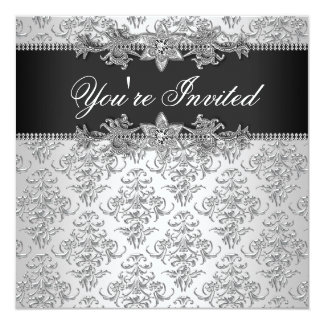 Silver Black Damask Black Damask Party Card